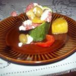 American Koreczki with Courgettes with Salami Appetizer