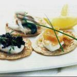 Russian Blinis of Three Fish Appetizer