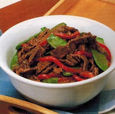 Canadian Stir-fried Beef And Snow Peas Appetizer