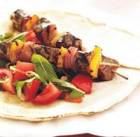 American Lamb Kabobs with Tomato Mint Salad BBQ Grill
