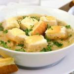 French Onion Soup with Cheese Croutons Appetizer