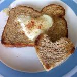 American Toast of Heart with Fried Egg Appetizer