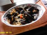 French Spicy Mussels in White Wine Sauce Dinner