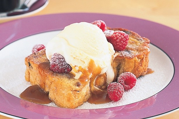 French French Raisin Toast With Icecream And Caramel Sauce Recipe Appetizer