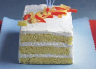American Citizen Cake Rum Butter Cake with Key Lime Cream and Tropical Fruits Recipe Dessert