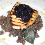 Australian Seared Tuna with Onion Marmelade Served on a Steaming Bed of Green Lentils BBQ Grill