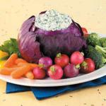 Australian Spinach Dip in Red Cabbage Appetizer