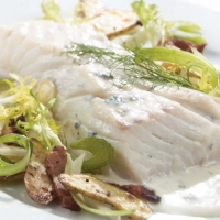 Swedish Blue Cheese Poached Halibut Dinner