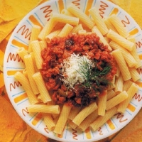Italian Rigatoni with Spicy Sausage and Tomato Sauce Dinner