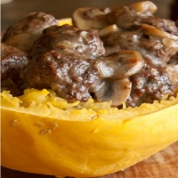 American Meatballs Spaghetti with Squash Dinner