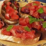 Italian Bruschetta with Tomatoes and Olives Appetizer