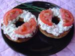American Breakfast Bagel Featuring Tomato and Garden Cream Cheese Appetizer