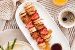 American Mini Pancake And Fruit Toast Skewers With Maple Syrup Recipe Dessert