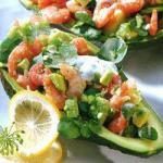 American Avocado Salad with Shrimps Appetizer