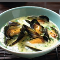 Spanish Mussels in Ginger and Chile Broth Soup