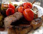 American Grilled Marinated Lamb Chops With Balsamic Cherry Tomatoes BBQ Grill