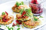 American Ricotta Fritters With Beetroot Relish And Hotsmoked Trout Recipe Dinner