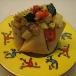 Macedonian Baskets Phyllo Dough with Macedonia of Vegetables to Hazelnuts Appetizer