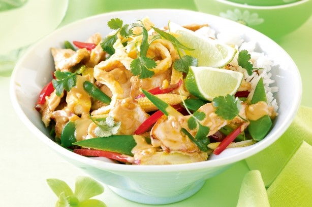 American Stirfried Chicken With Satay Sauce Recipe Appetizer