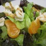 American Salad with Grilled Rennet Cheese Tangerine and Dessert
