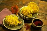 Iranian/Persian Saffron Zoolbia deepfried Pastry with Saffron Sugar Syrup Appetizer