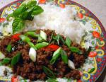 Canadian Minced Beef With Chilli Garlic  Holy Basil Drink