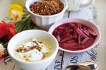 British Bircher Muesli With Rhubarb And Sweet Dukkah Recipe Dessert