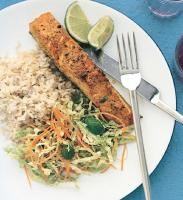 Iranian/Persian Curry-rubbed Salmon with Napa Slaw Dinner