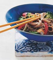Malaysian Soba Noodle Tofu and Vegetable Stir-fry Dinner