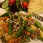 American Rainbow Rotini with Sausage and Asparagus Dinner