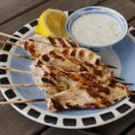 Indian Bollywood Chicken Skewers with Spiced Yogurt Dip BBQ Grill
