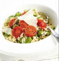 Italian Orzo with Fava Beans and Tomatoes Appetizer
