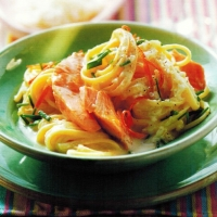 French Linguine with Salmon and Cheesy Chive Sauce Dinner