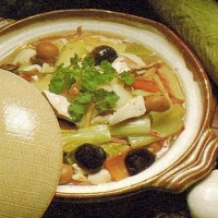 Chinese Bean Curd Mushrooms and Vegetables Simmered in An Earthenware Crock Appetizer