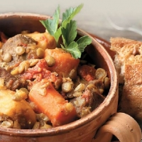 Indian Curried Lamb Lentil and Vegetable Stew Dinner